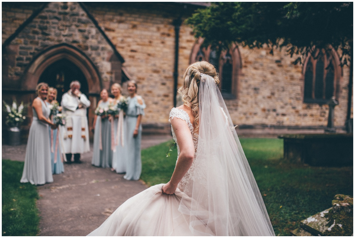 Bride arrives at St. Matthews church in Leek, Staffordshire ahead of her wedding.