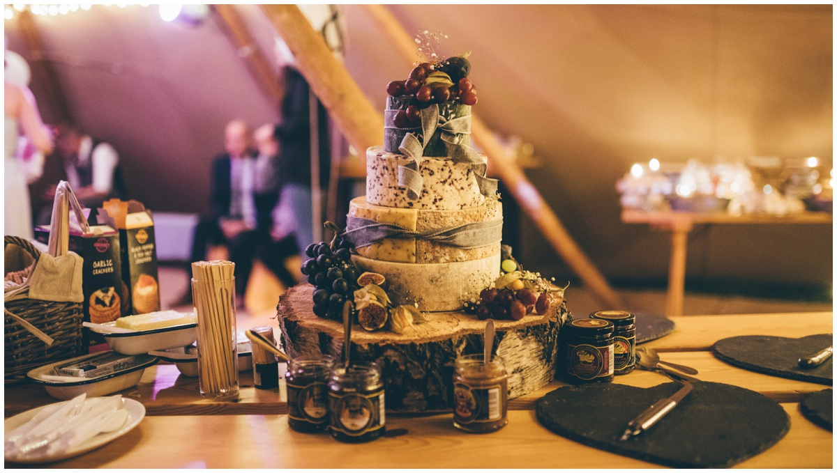 Amazing cheese tower at a tipi wedding in Leek, Staffordshire.