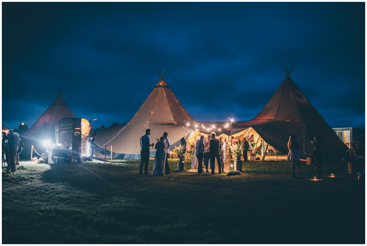 The gorgeous wedding tipi in Staffordshire at dusk.