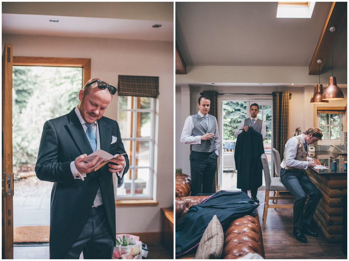 Groomsmen and guests get ready for the Merrydale Manor wedding.