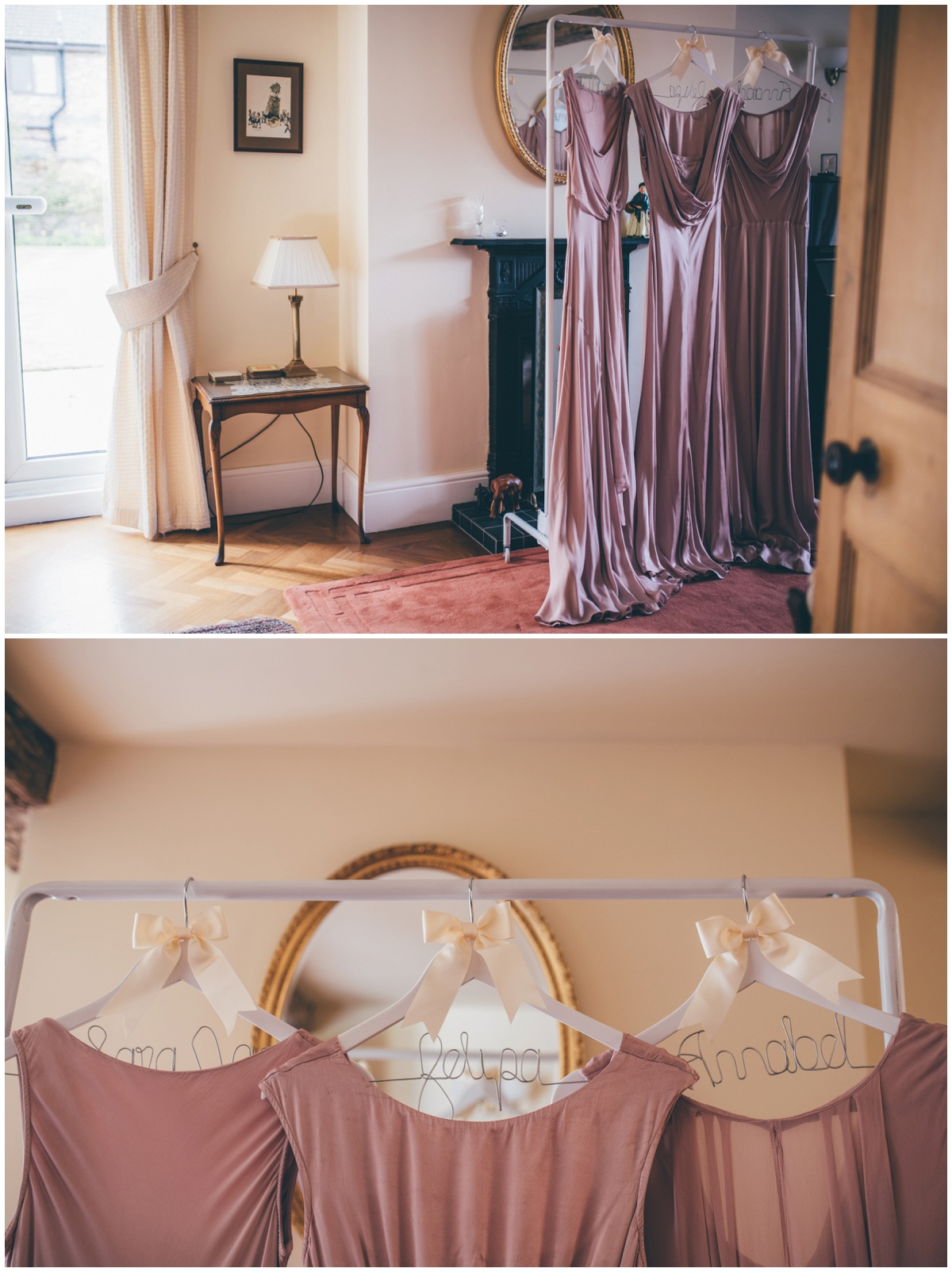 Beautiful duskiy pink bridemaid dresses with personalised hangers.