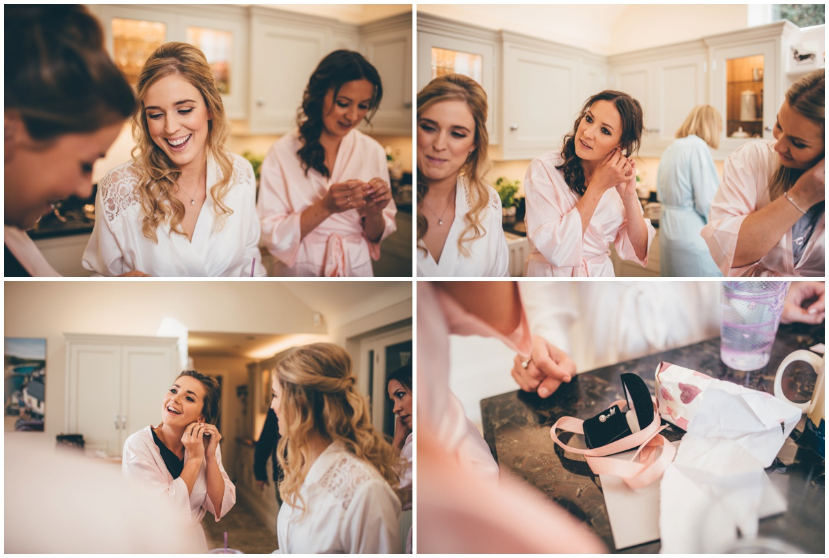 Bride gives her bridesmaids a Thank You gift on the morning of her wedding in Cheshire.