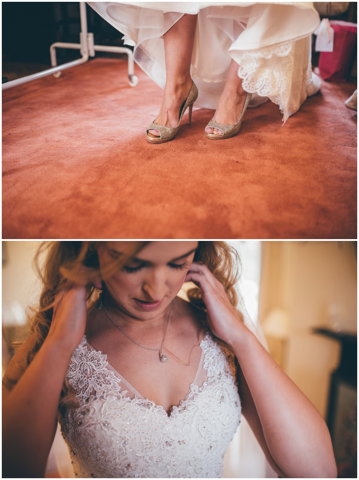 Bride dresses on her weddin morning, puts on her Jimmy Choos and diamond necklace.