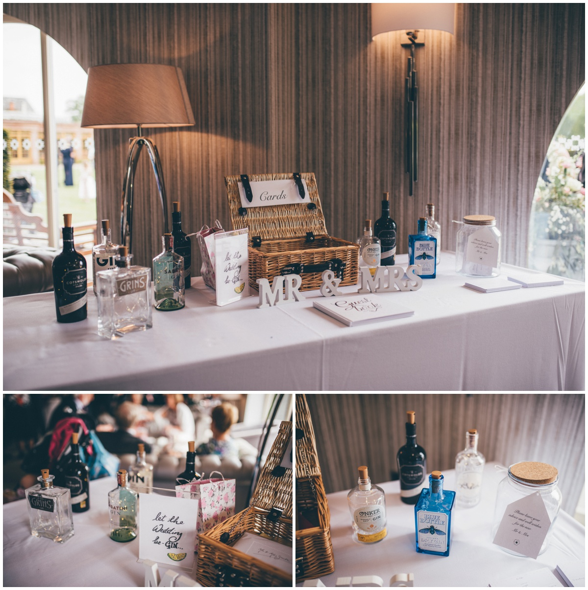 Gin-themed wedding table.