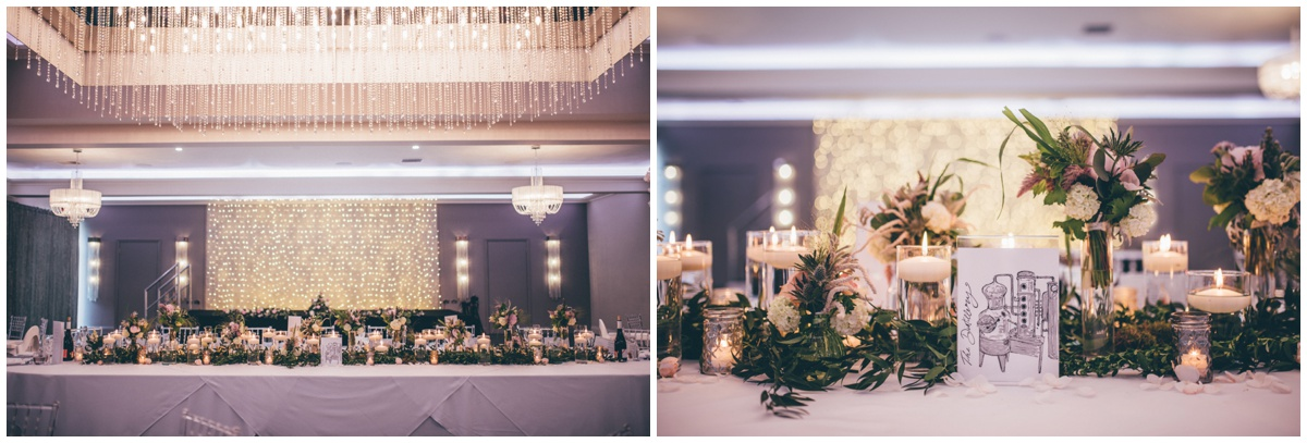Stunning gin-themed wedding breakfast room decorated with Red Floral flowers and candles.