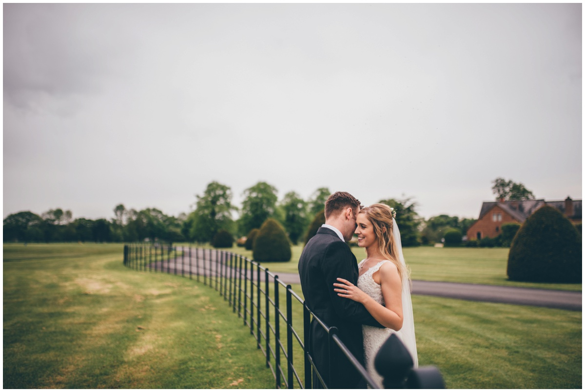 Newlyweds in the grounds of the new Cheshire wedding venue, Merrydale Manor.