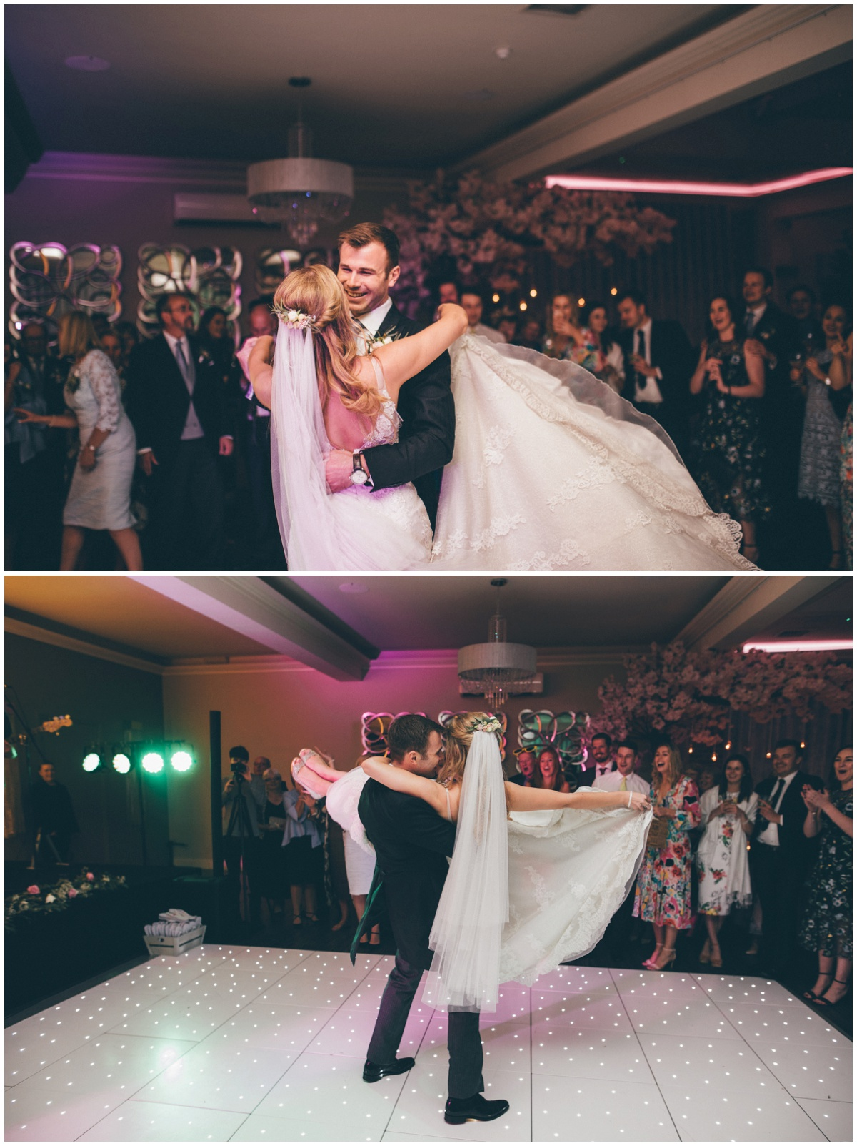 Bride gets lifted by her new husband during their First Dance to a Spice Girls song.