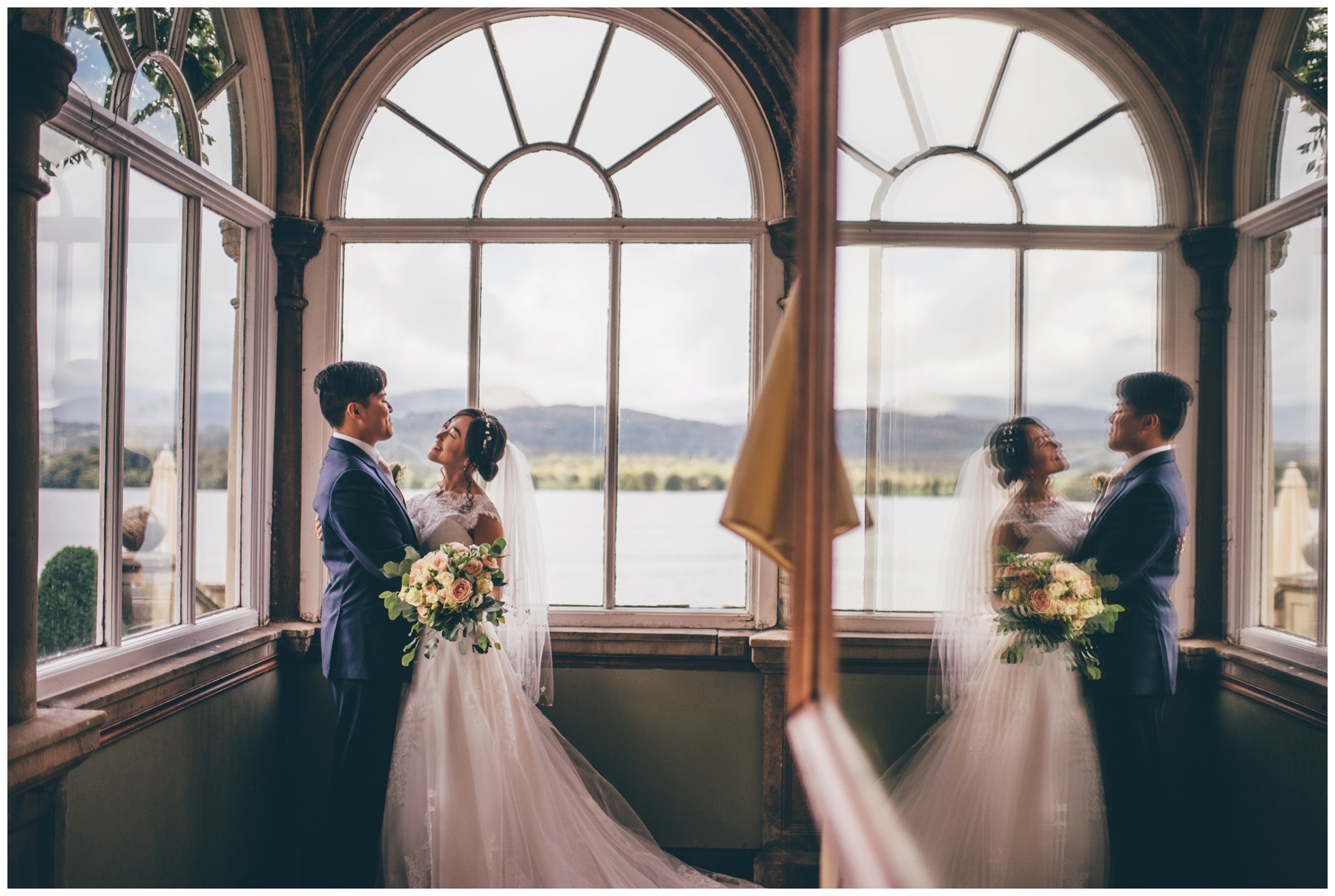 Bride and groom in the conservatory at Langdale Chase Hotel in the Lake District.