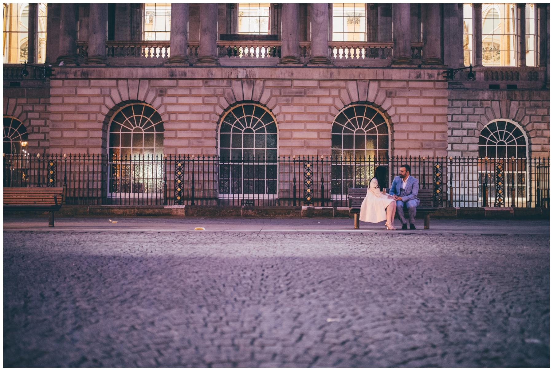 Bride and Groom share a special moment at Exchange Flags in Liverpool wedding.