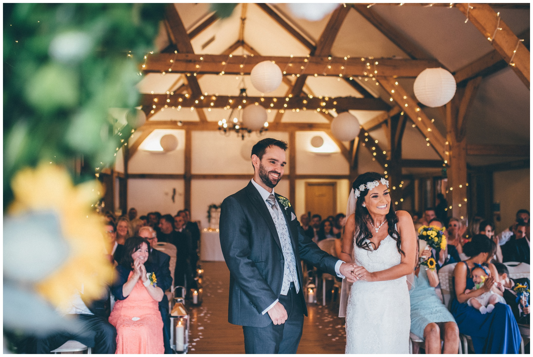 Bride and Groom get announced finally as husband and wife at Sandhole Oak Barn wedding in Cheshire.