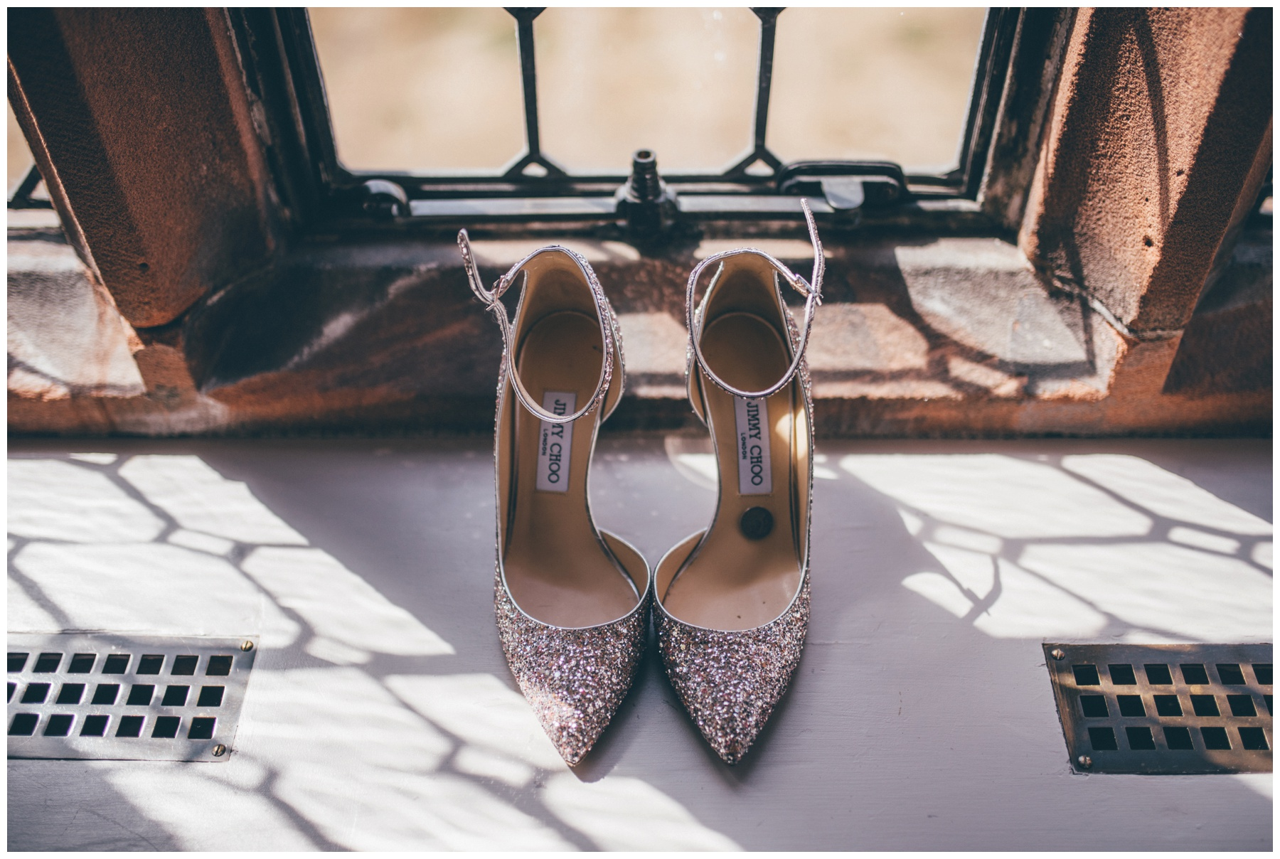 Stunning sparkly Jimmy Choo wedding shoes on the window sill at Thornton Manor.