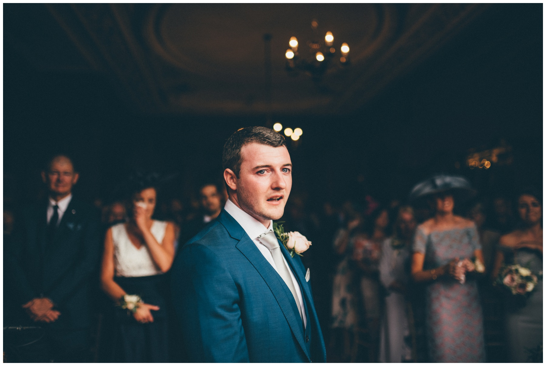 Grooms eyes well up at he sees his bride walking towards him at Thornton Manor.