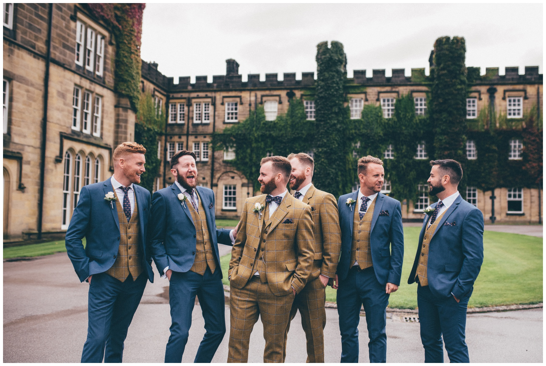 Groom and his groomsmen all dress in tweed at Swinton Park Estate wedding in Yorkshire.
