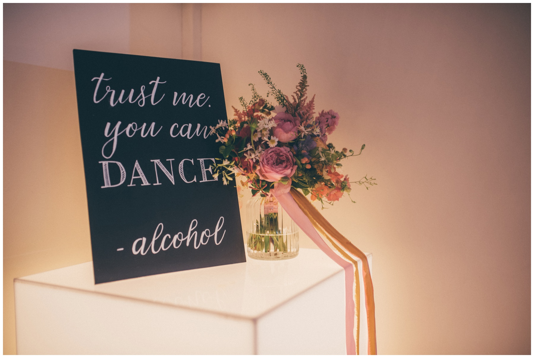 Funny blackboard wedding signage at Combermere Abbey in Cheshire.