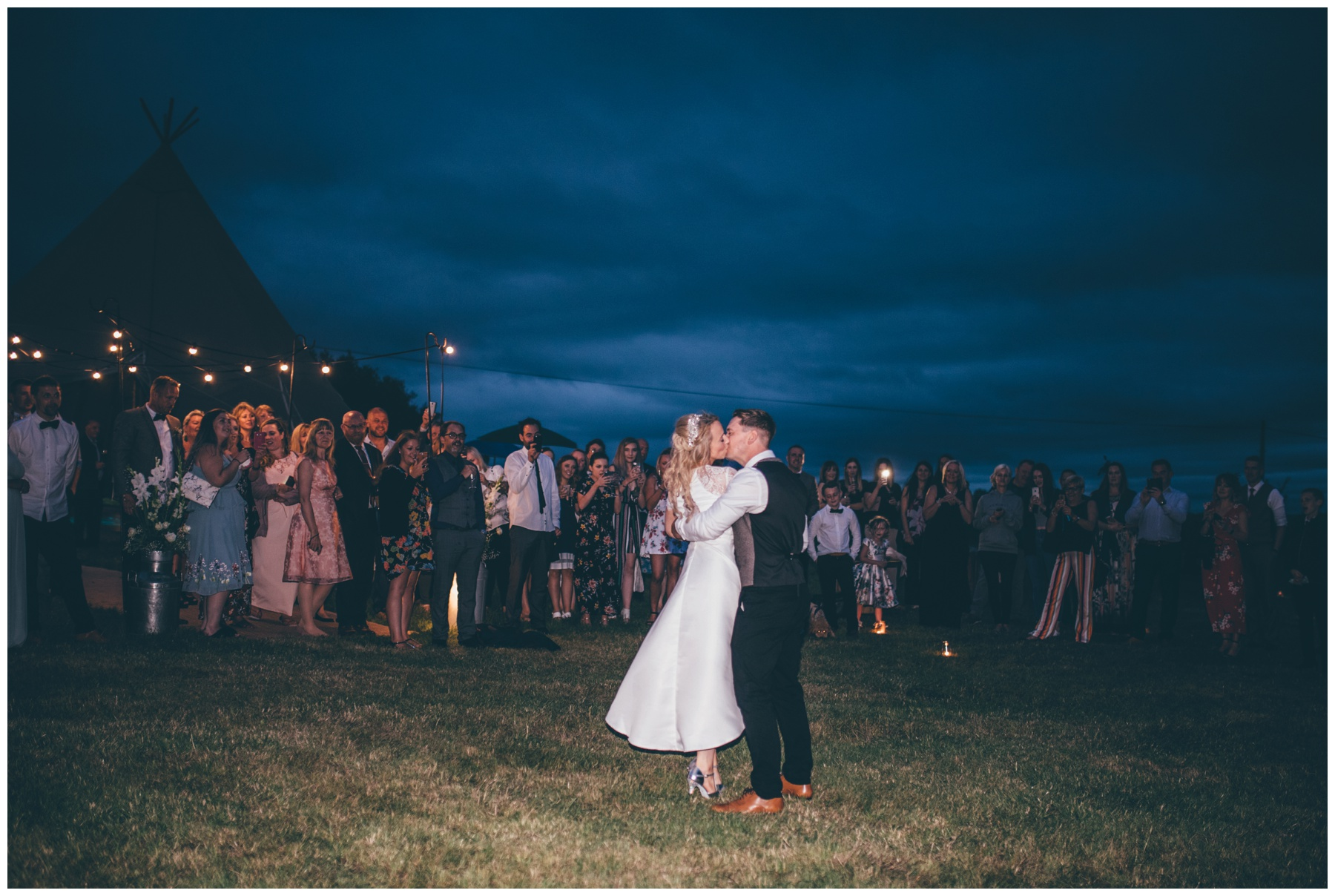 The most gorgeous moonlit First Dance at tipi wedding in Staffordshire.