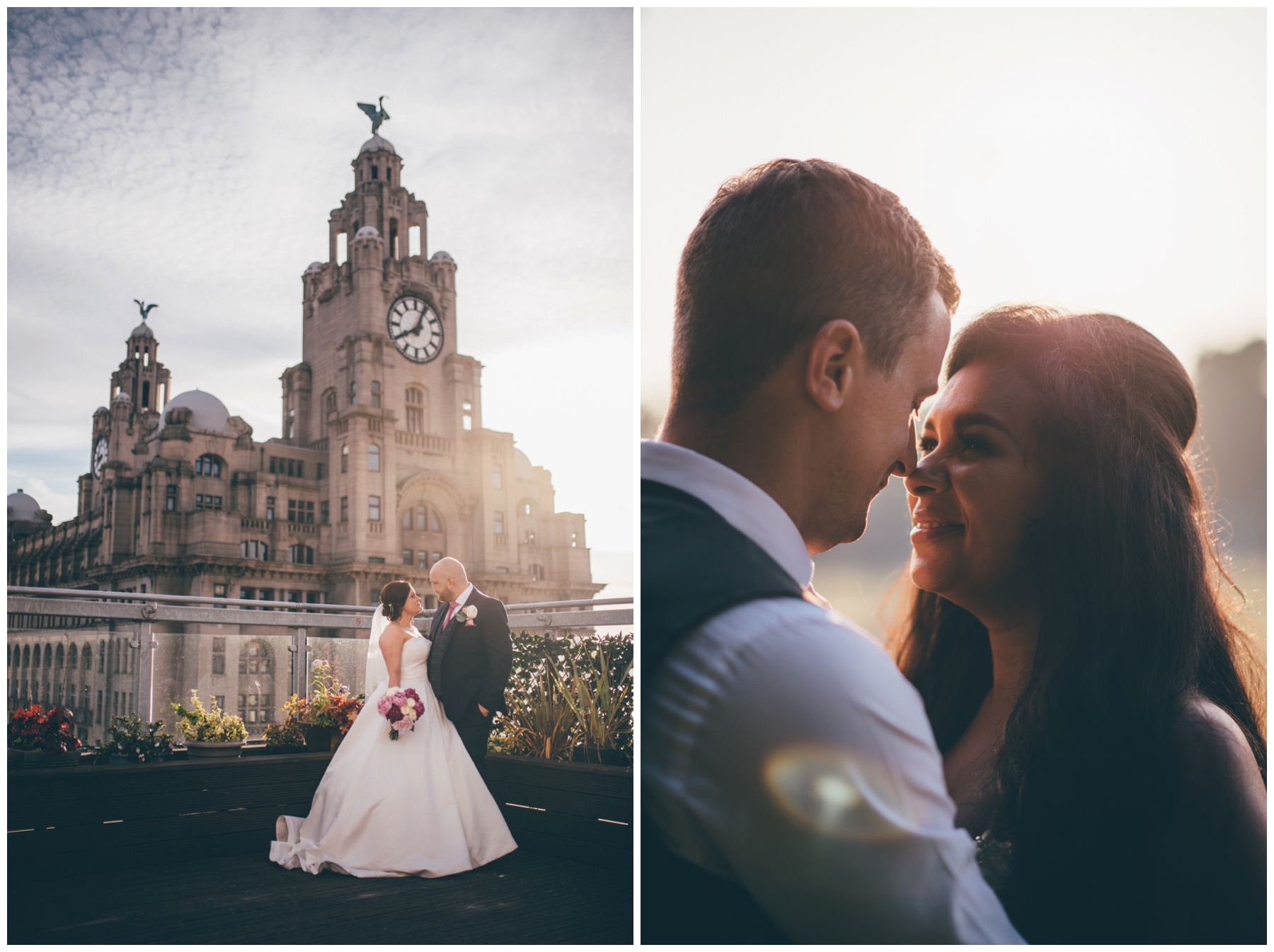 Brides and grooms at Liverpool wedding venues Oh My Oh My, The Liver Building and Aigburth cricket club.