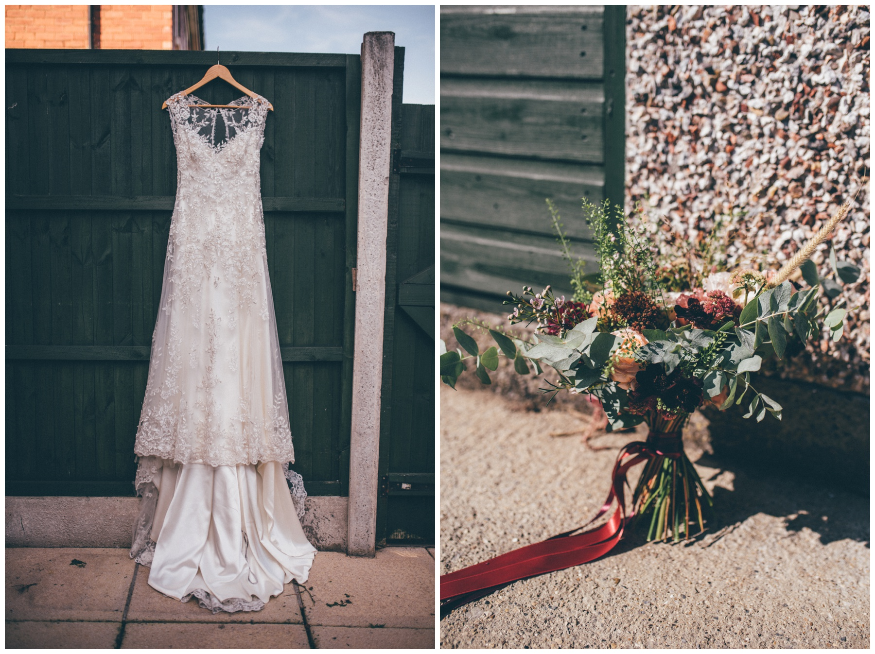 Stunning lace gown hung up and wild flowers in the garden for the Sheffield city centre wedding.