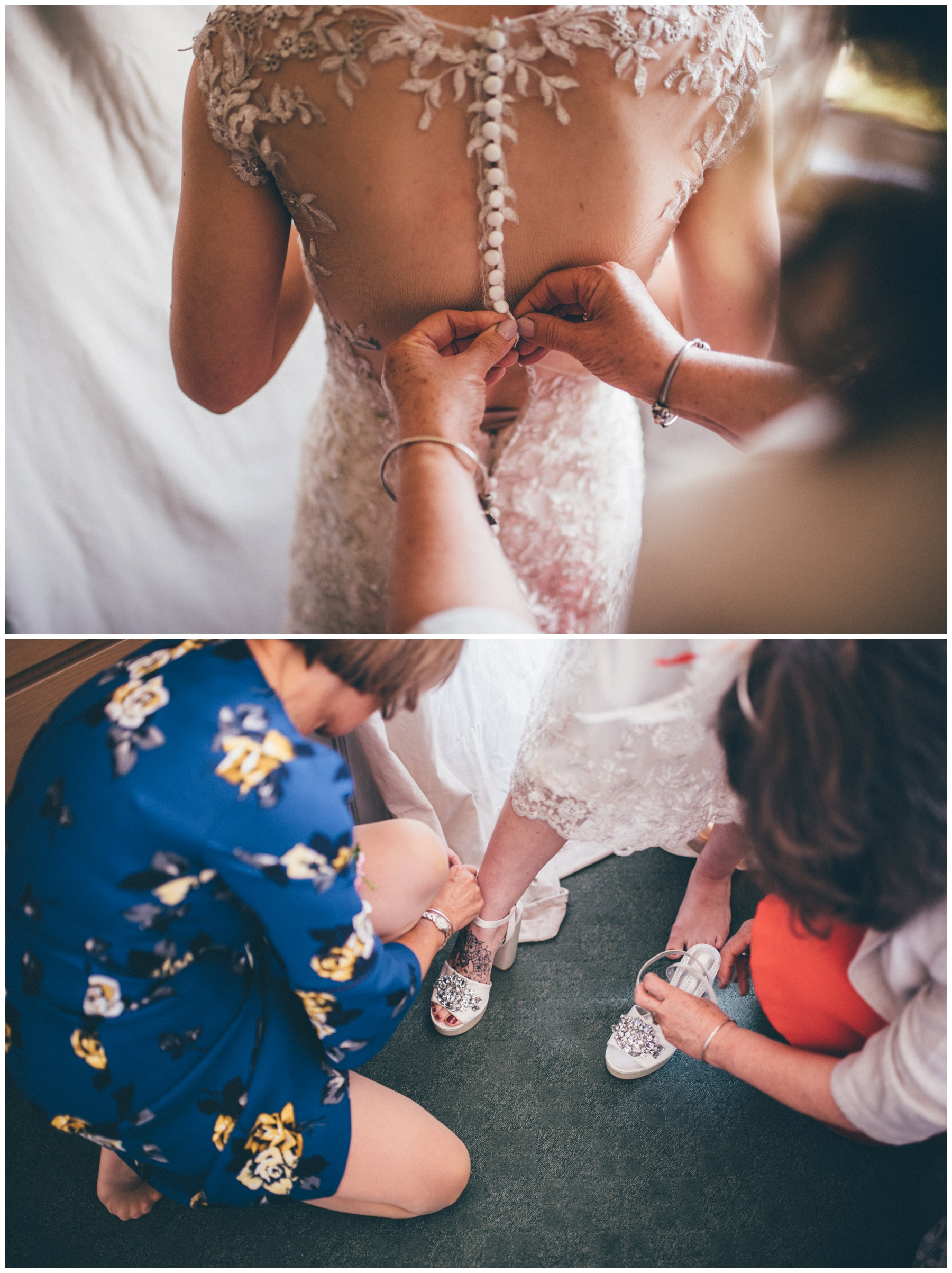 The bride-to-be gets dressed with the help of her mum on her wedding day.