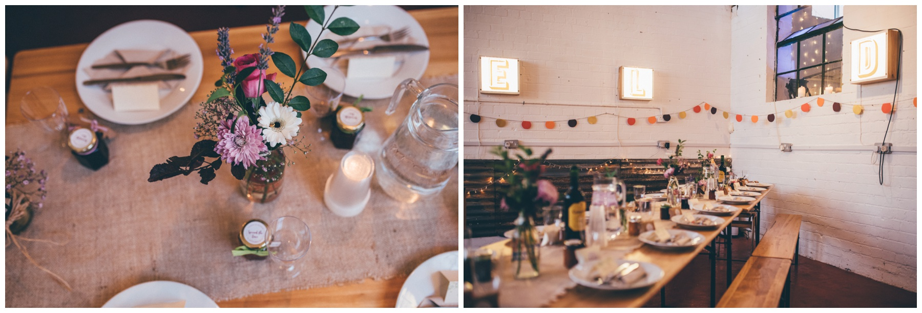 DIY table decorations at the creative wedding venue in Sheffield, The Hide.