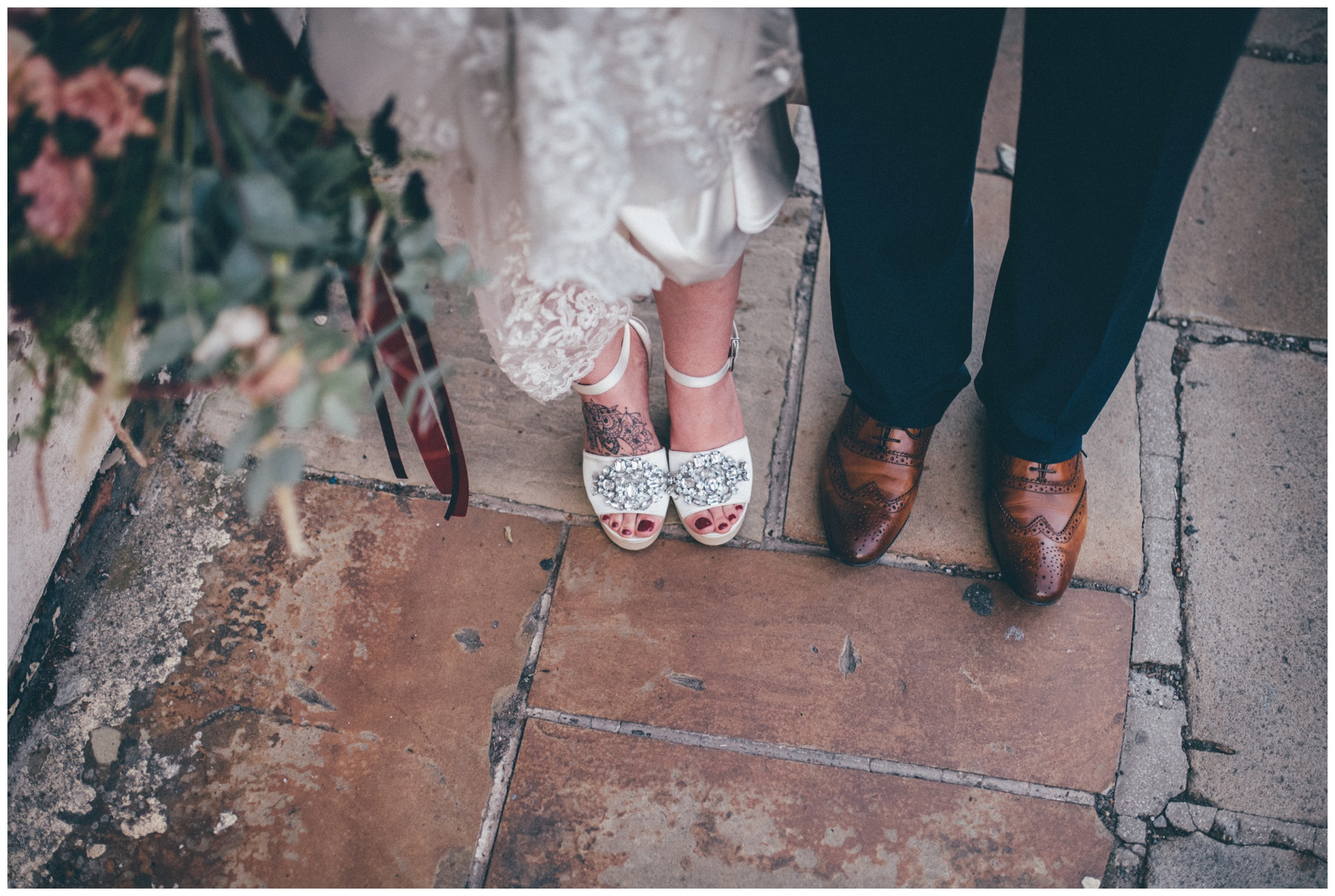 Bride and grooms gorgeous footwear at the city centre wedding in Sheffield.