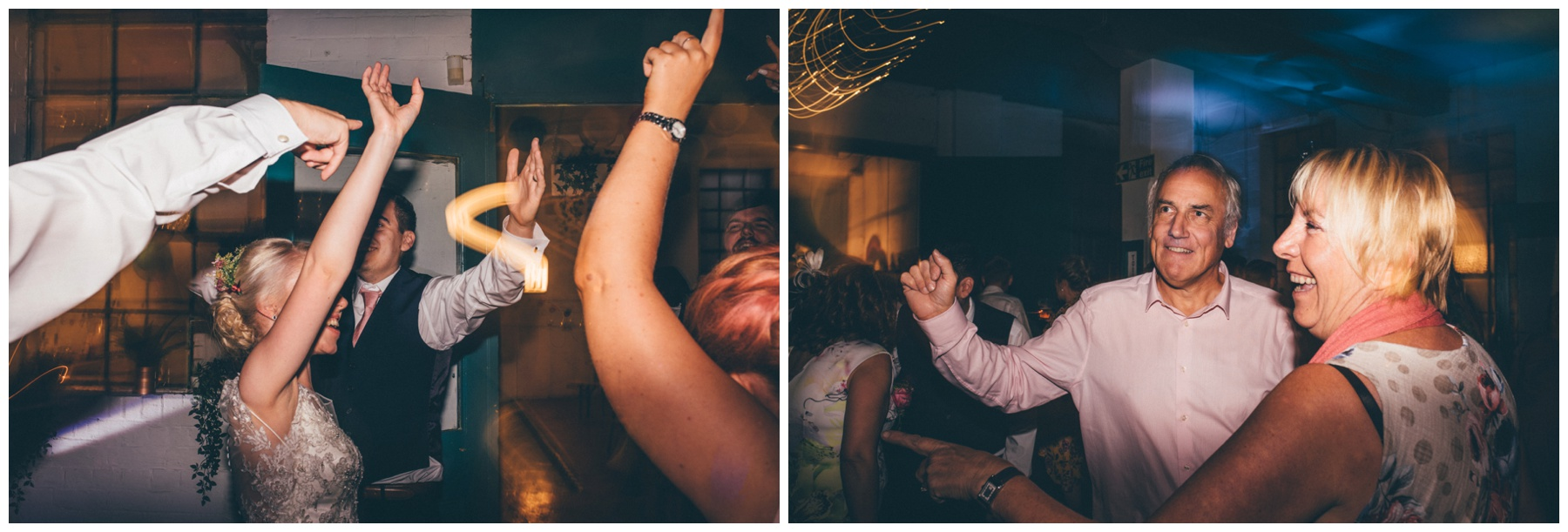 Guests dance at The Hide, a cool, Urban wedding venue in Sheffield.
