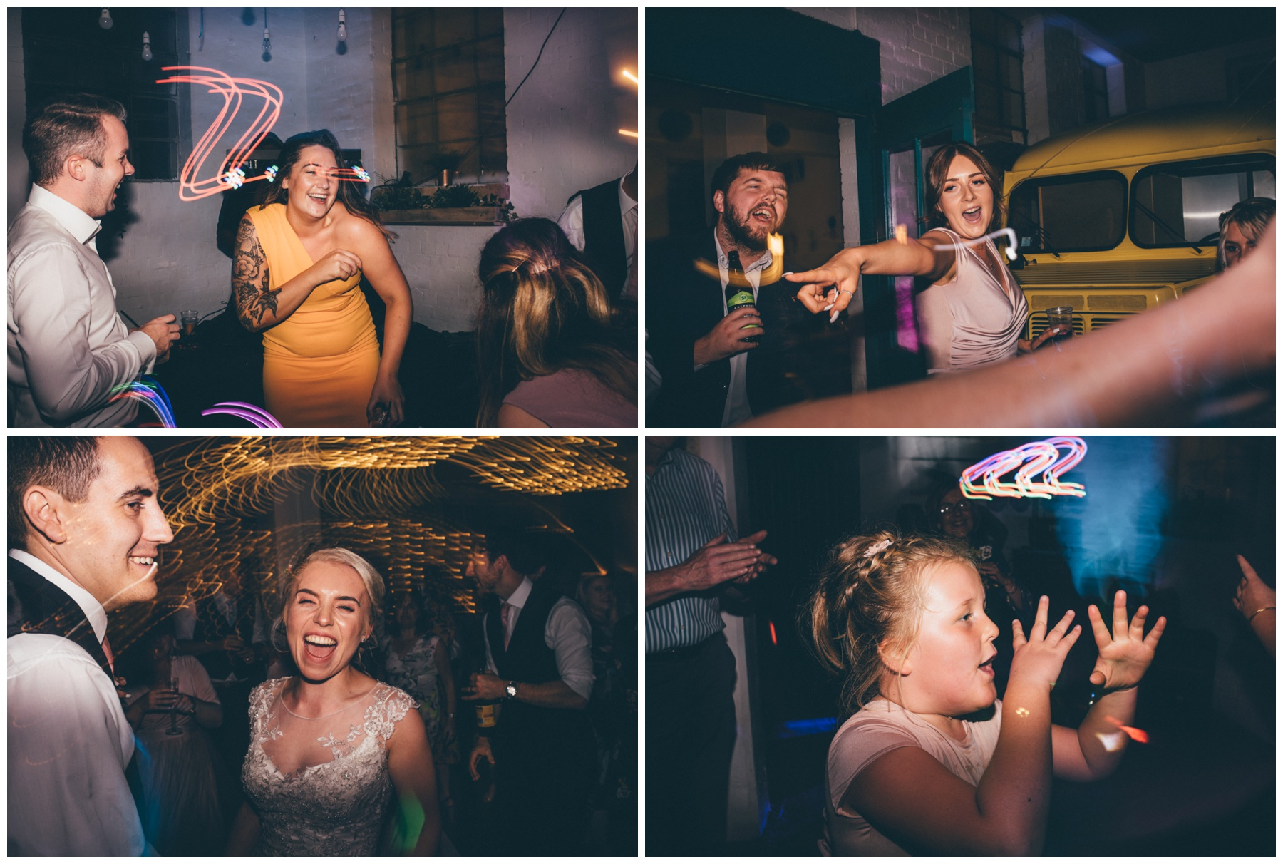 Wedding party fun at the creative space in Sheffield, The Hide, for city centre weddings.