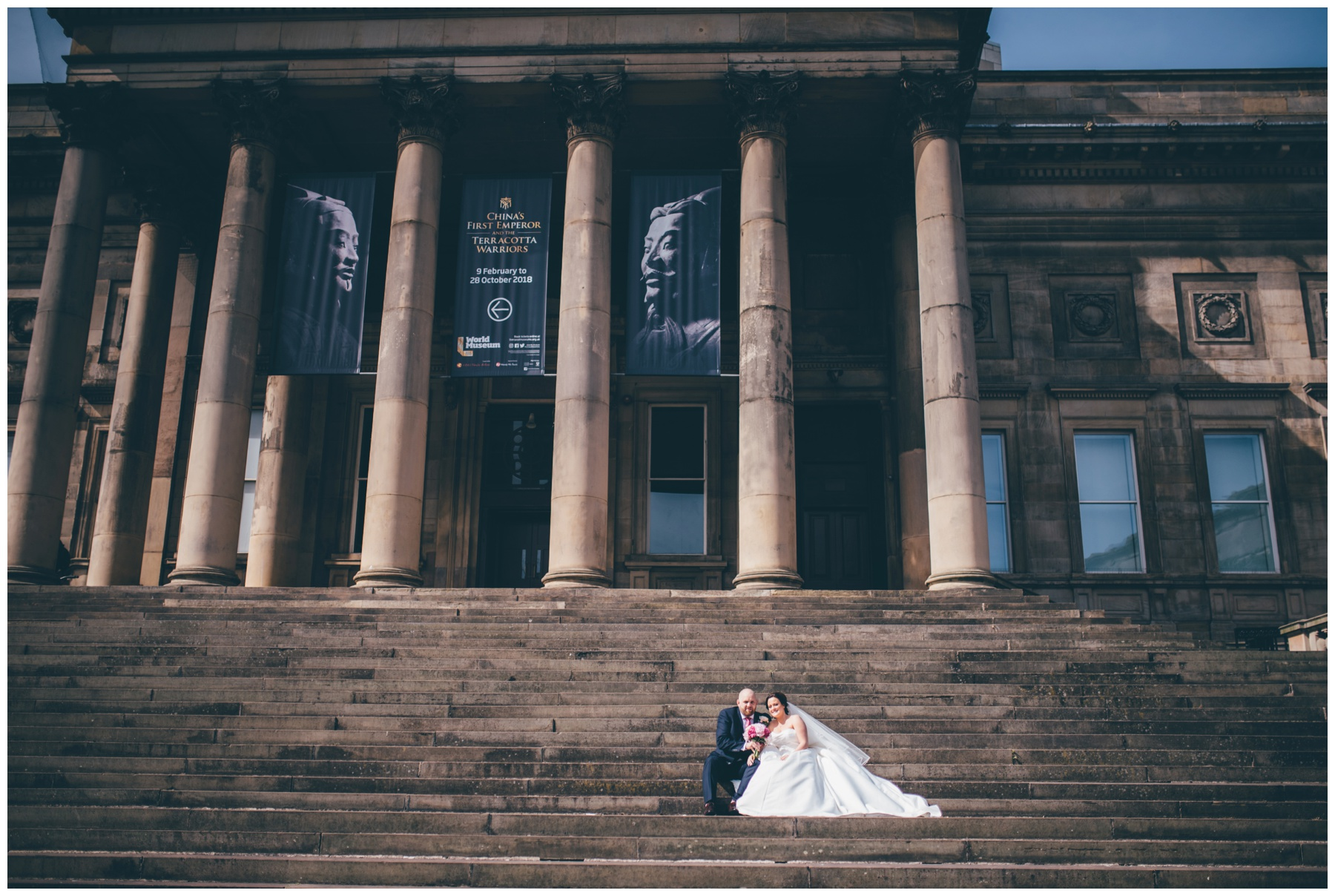Bride and Groom outside Liverpool World Museum.
