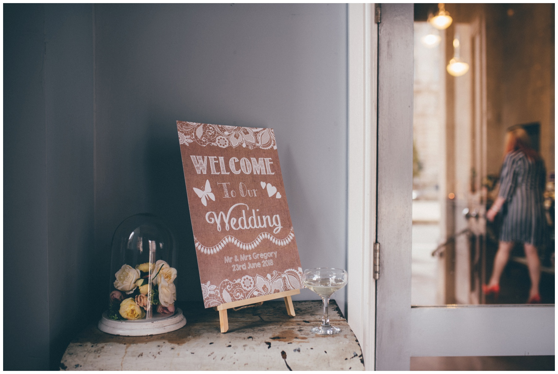 Welcome to the wedding sign at Wedding venue Oh Me Oh My in Liverpool City Centre.