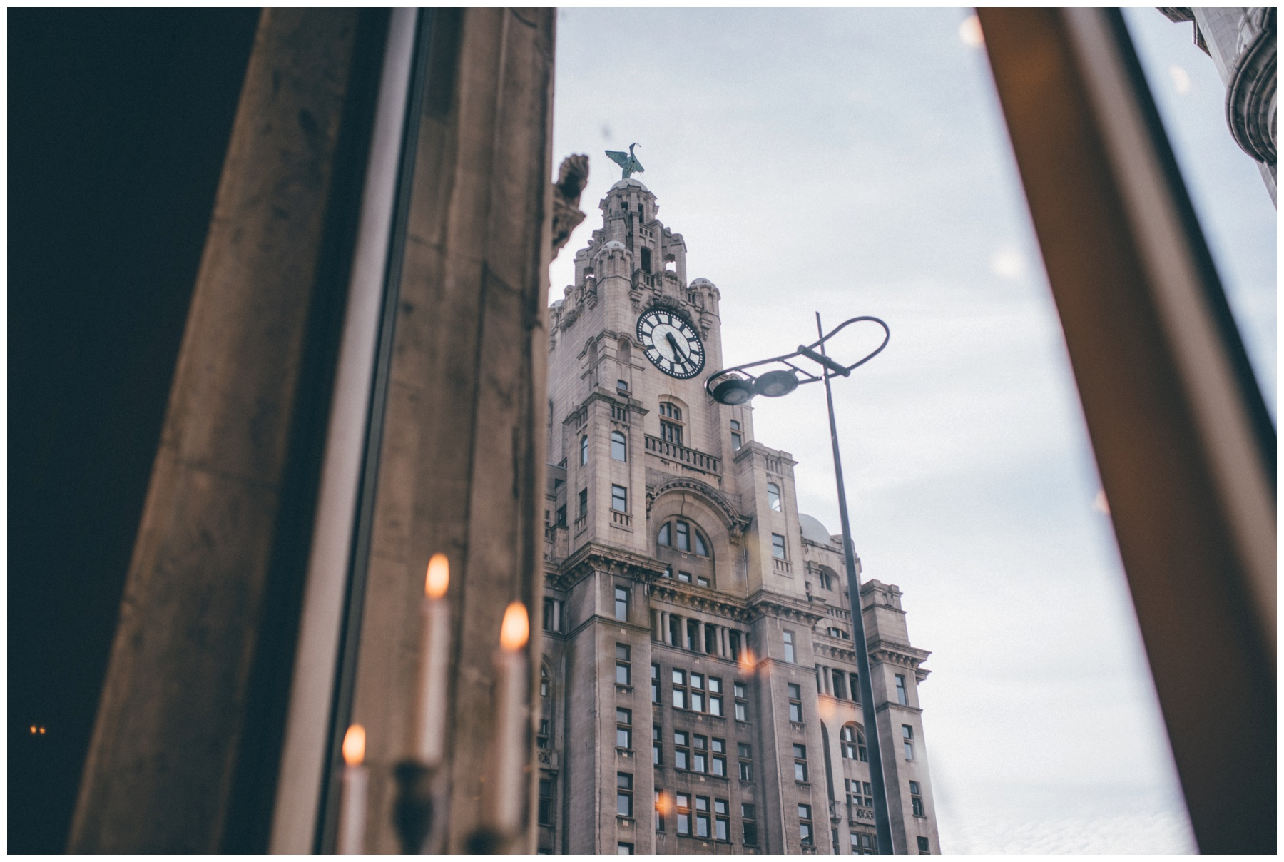 The Liver Building from the windows of Wedding venue Oh Me Oh My in Liverpool City Centre.