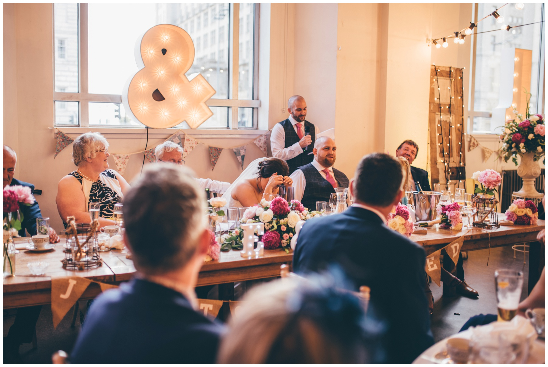 Speeches at Wedding venue, Oh Me Oh My in Liverpool City Centre.