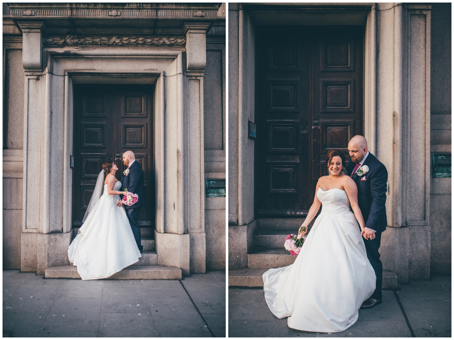Bride and Groom at their Liverpool City centre wedding.