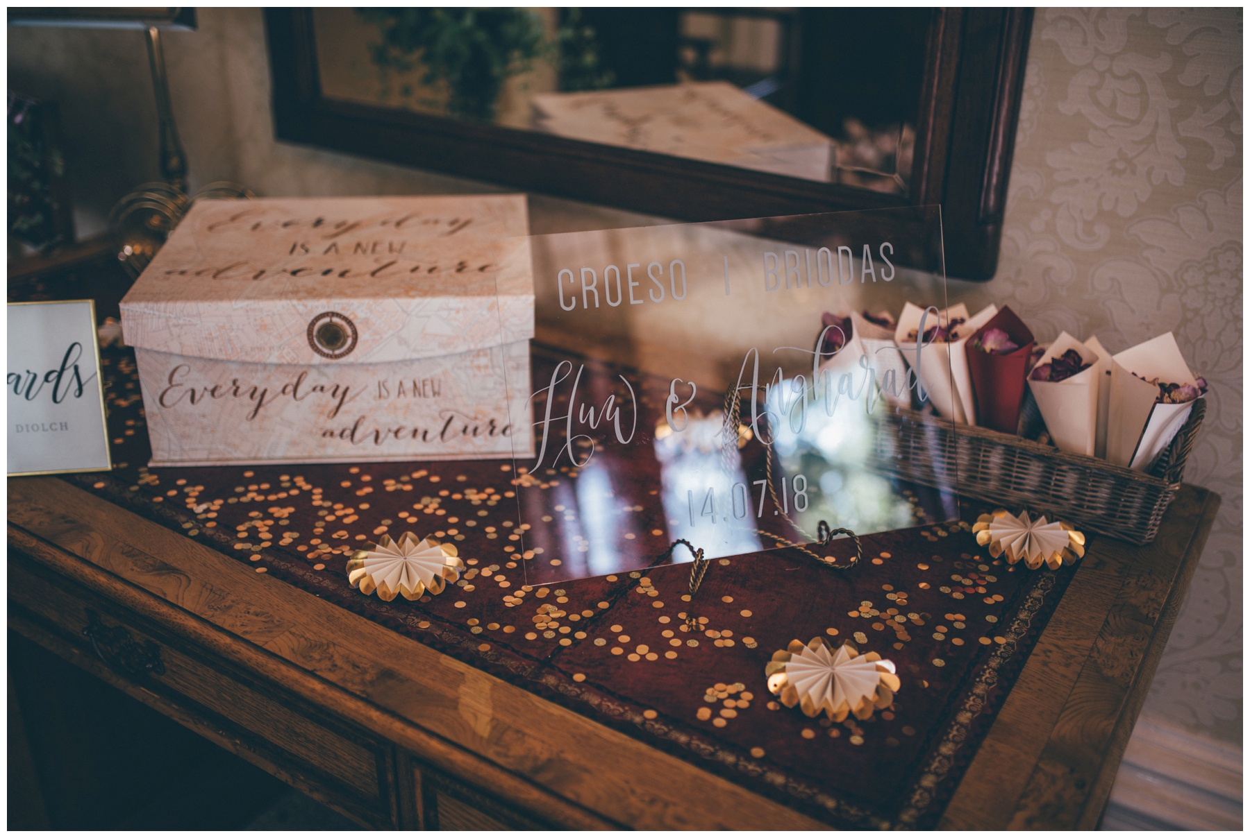 Welsh wedding details at new Cheshire wedding venue, Tilstone House.