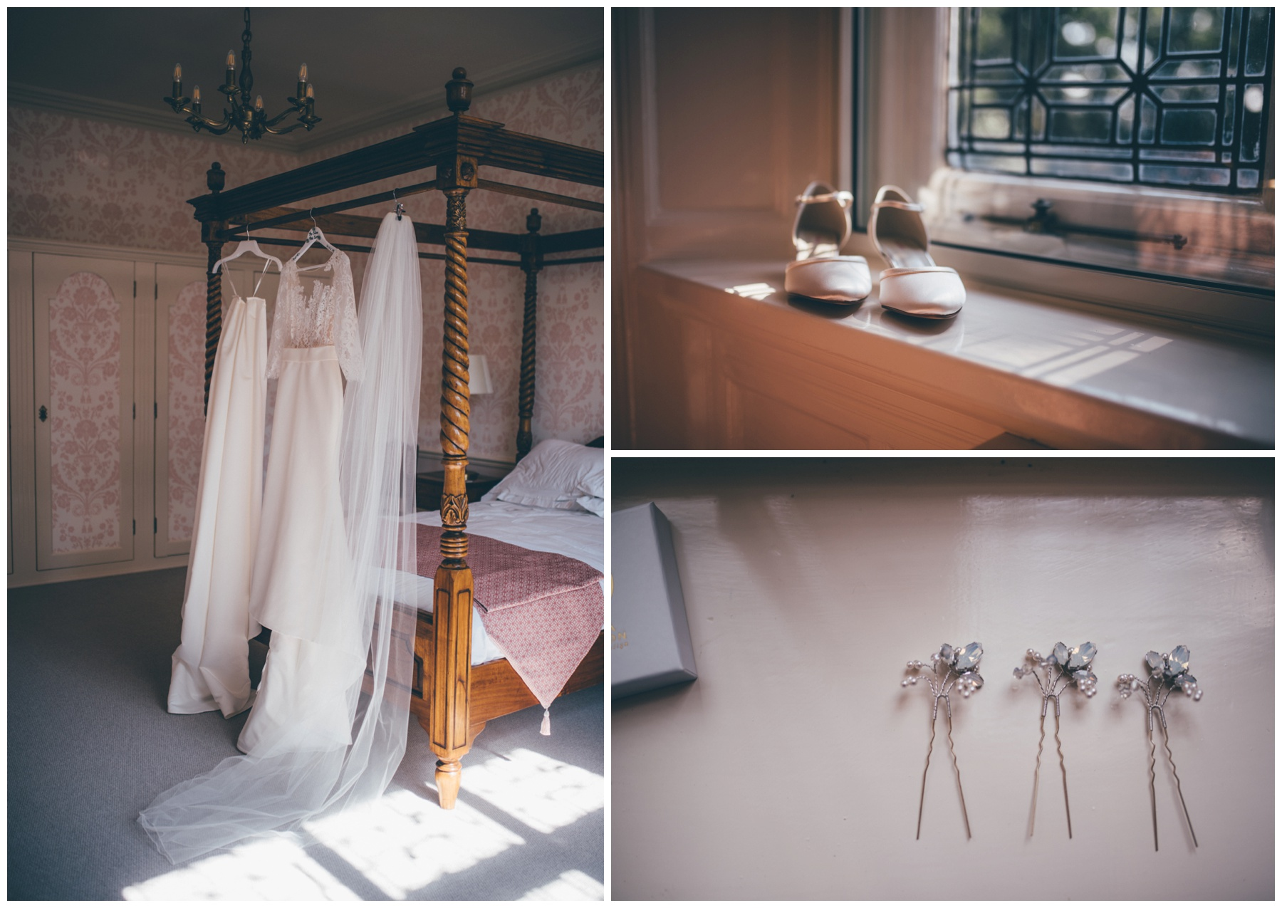 Bridal details in the pretty pink suite at Tilstone House.