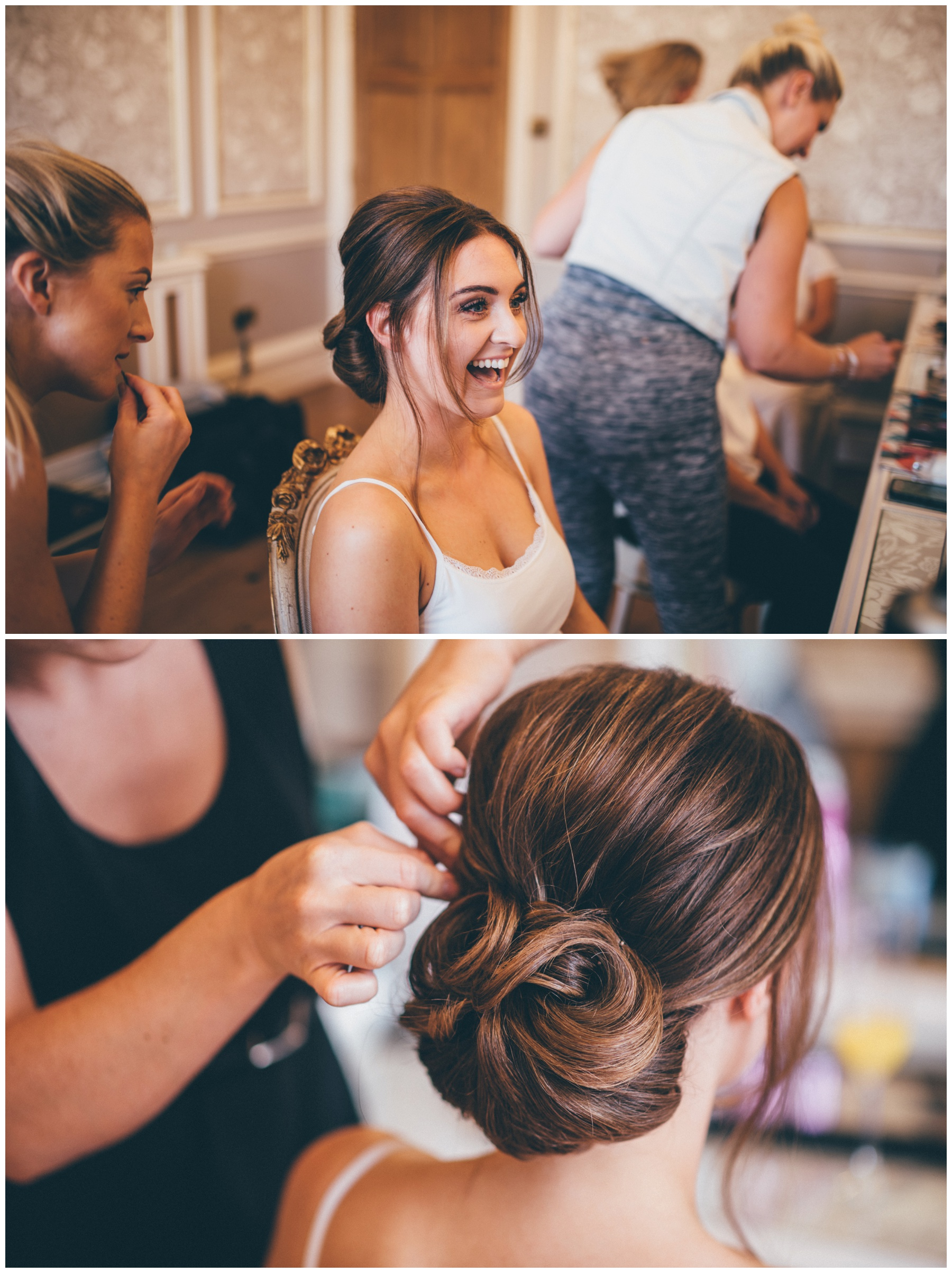 Beautiful bride getting her wedding make-up done in the bridal suite at Tilstone House in Tarporley, Cheshire.