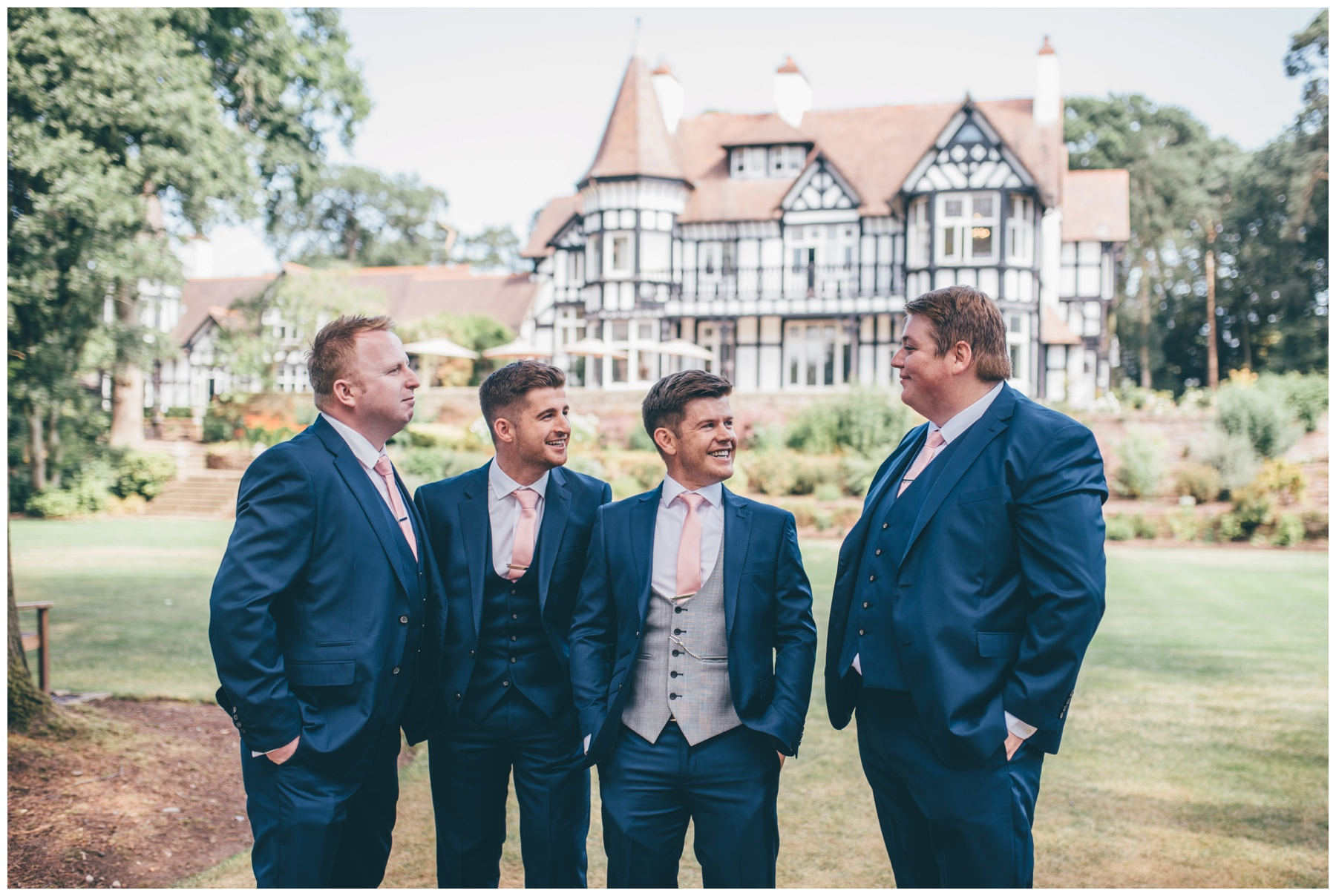 The groom and his groomsmen before the wedding at Tilstone House in Cheshire.