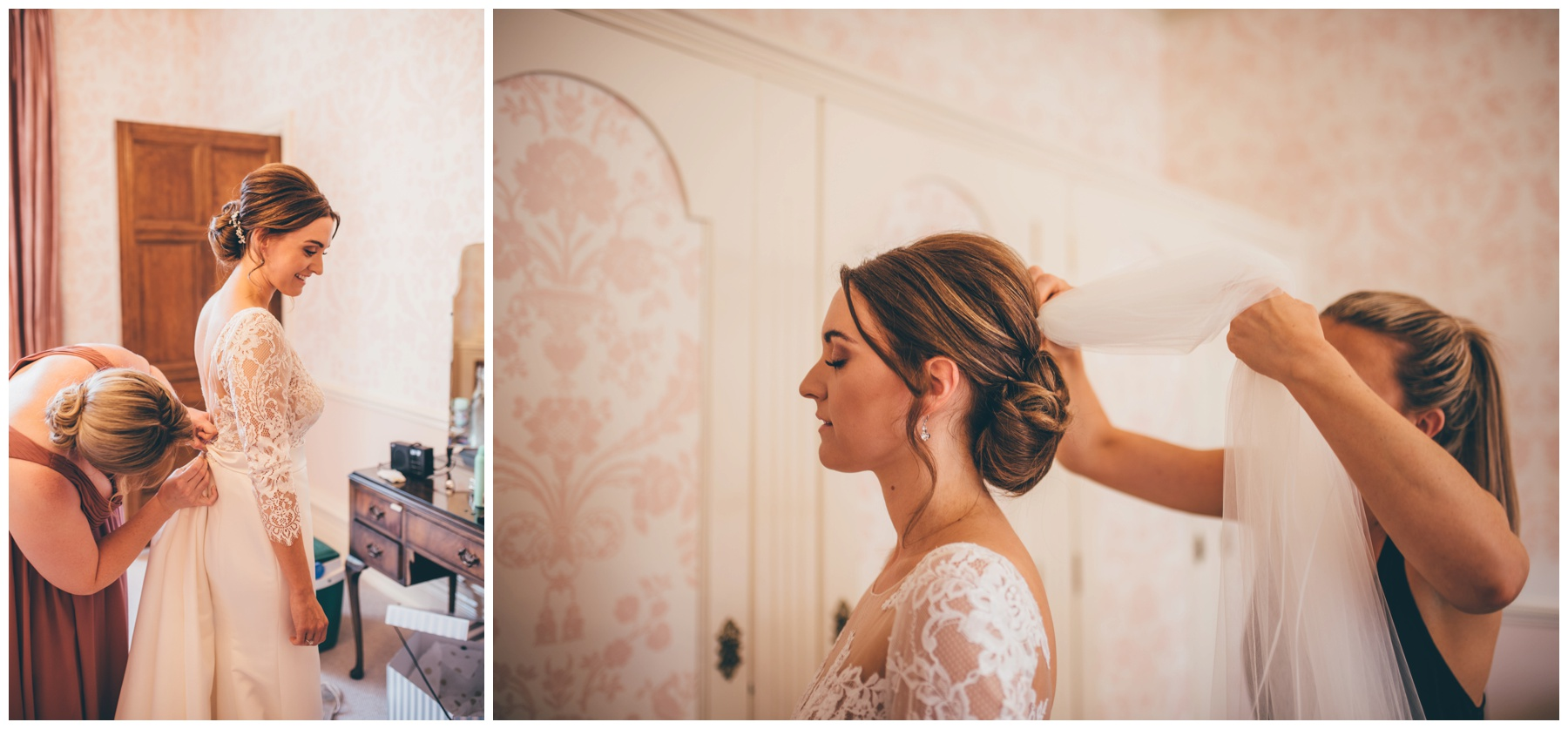 Beautiful bride gets ready before walking down the aisle at Tilstone House.