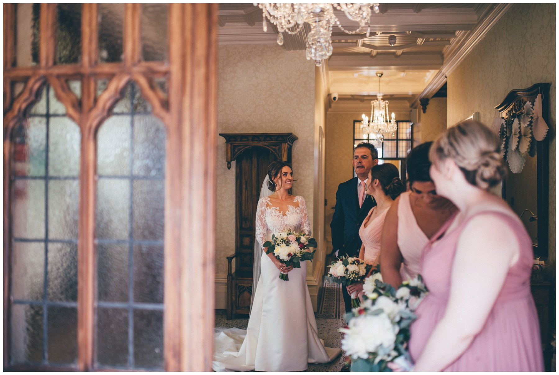 The bridal party waiting to walk down the aisle at Tilstone House.