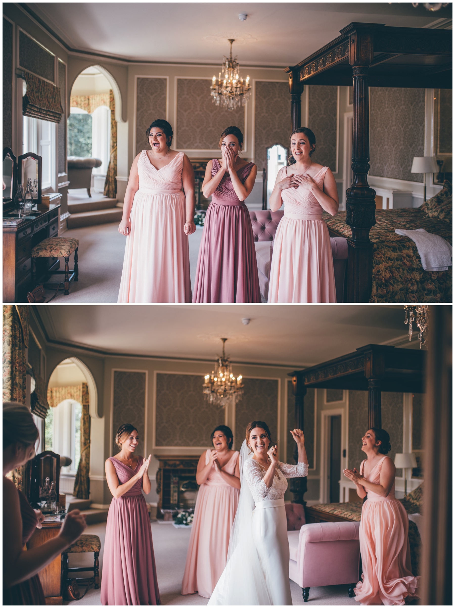 The bridesmaids see their friend for the first time as a bride at Tilstone House.