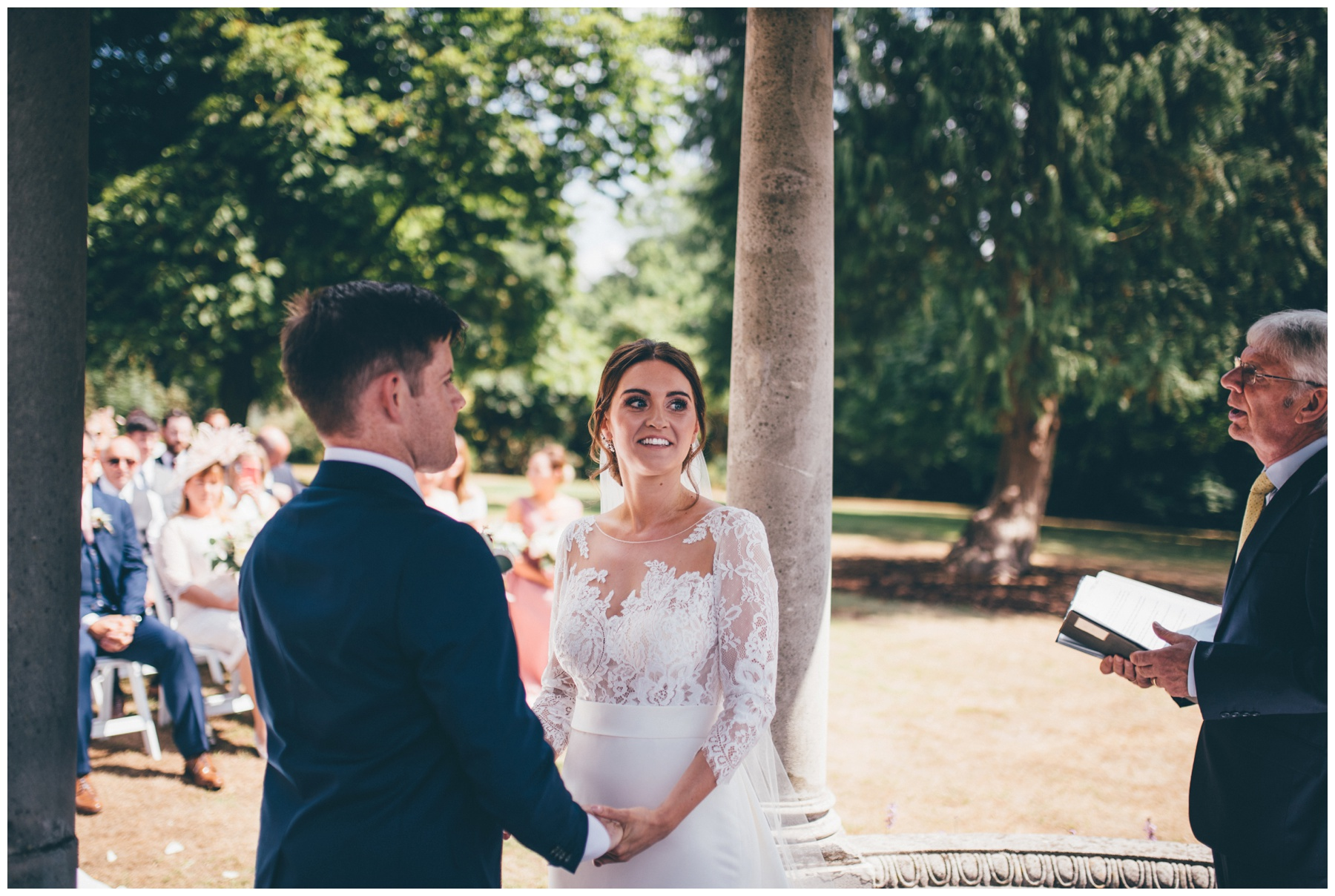 Stunning outdoor wedding ceremony at Tilstone House in Cheshire.