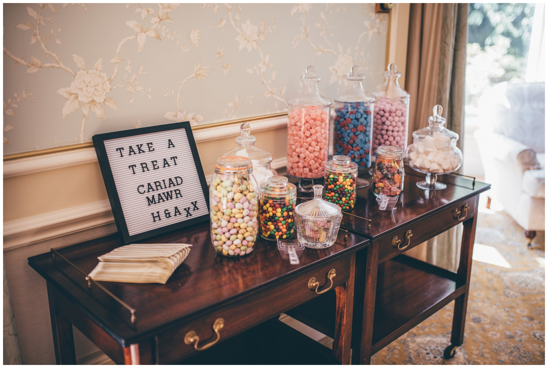 Welsh themed sweet table at Tilstone House.
