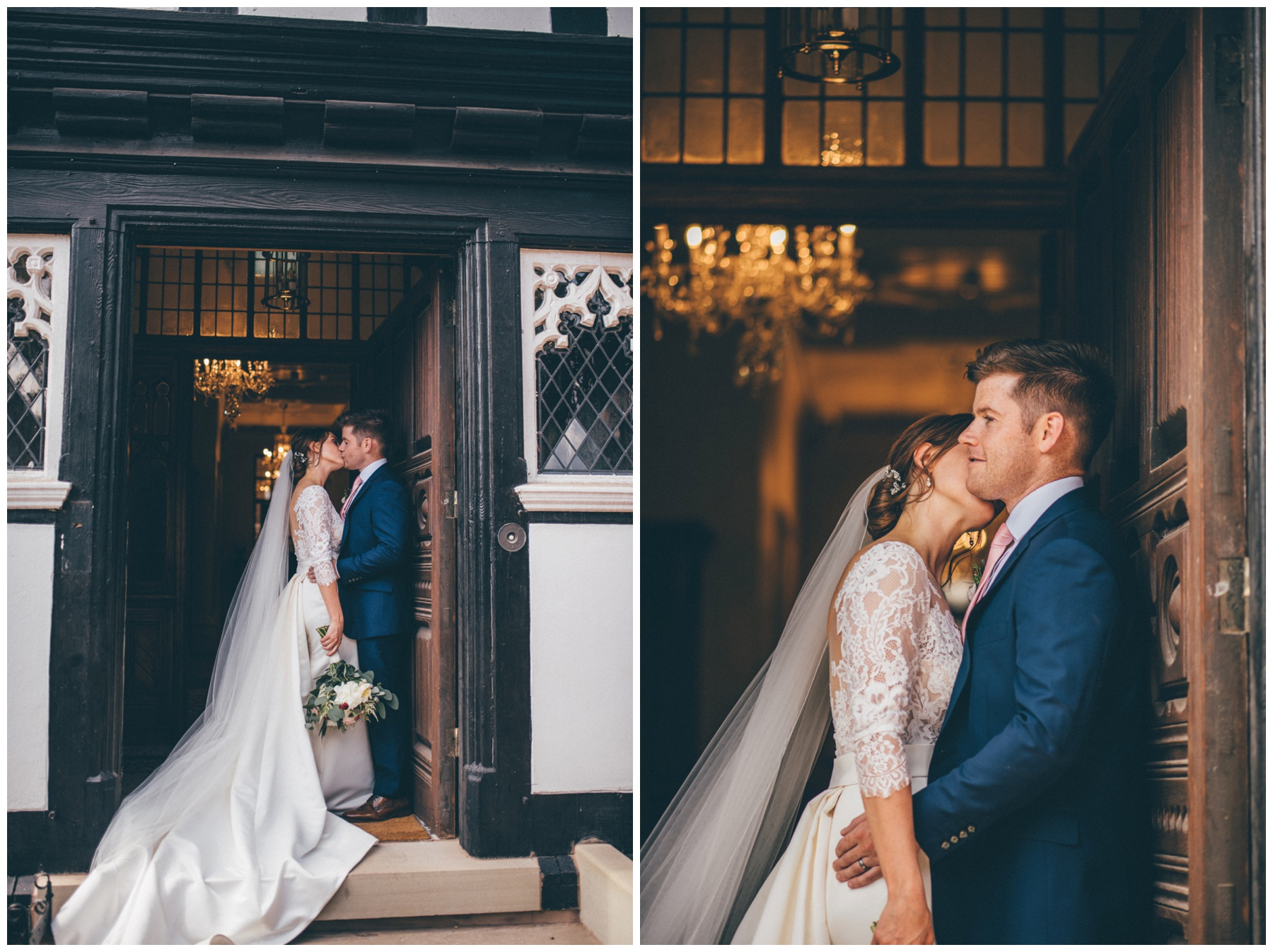 Bride and Groom have their wedding photographs taken at Tilstone House in Cheshire.