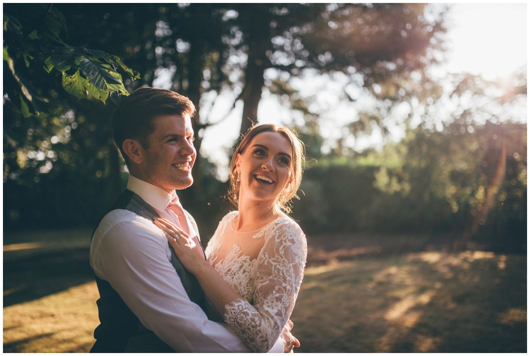 Bride and Groom in the golden hour at Tilstone House in Tarporley.