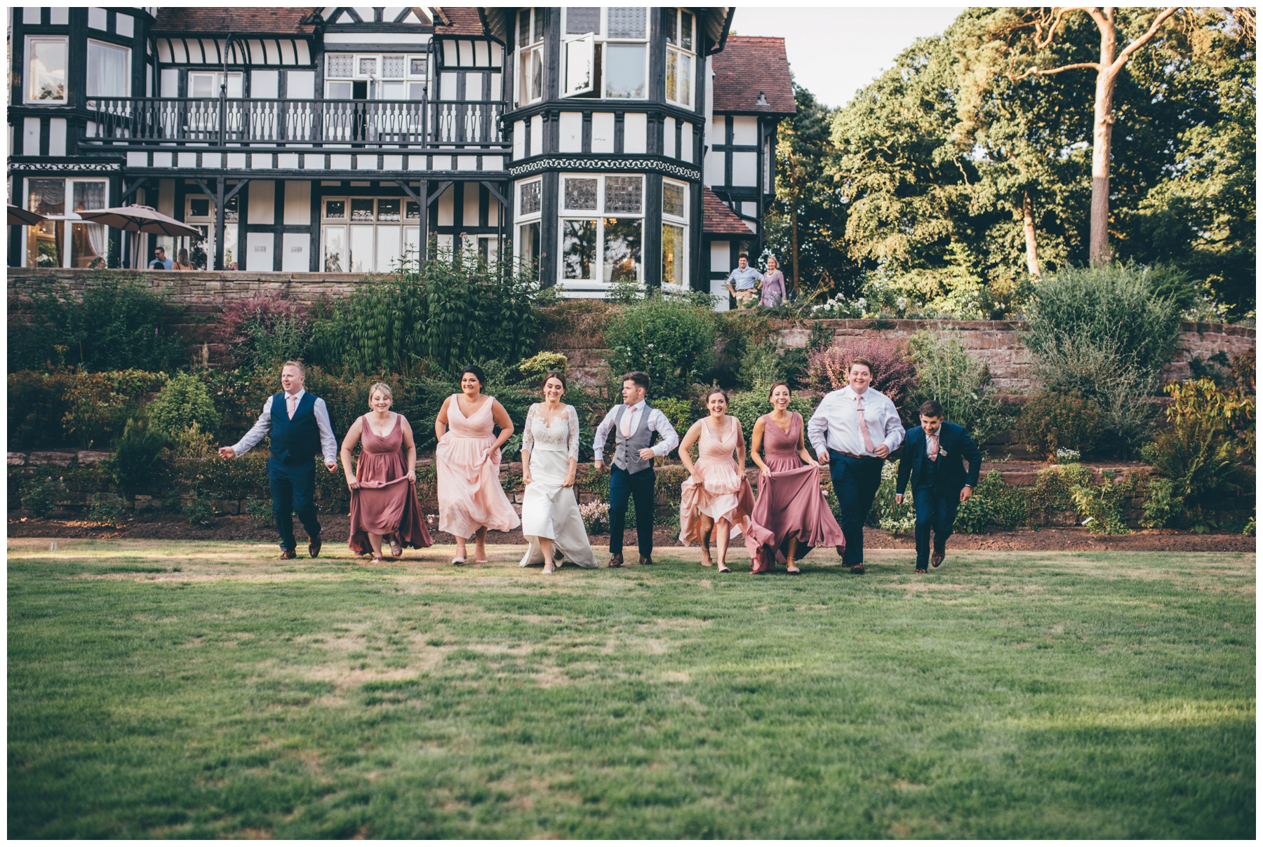 Bridal Party enjoying the wedding at Tilstone House.
