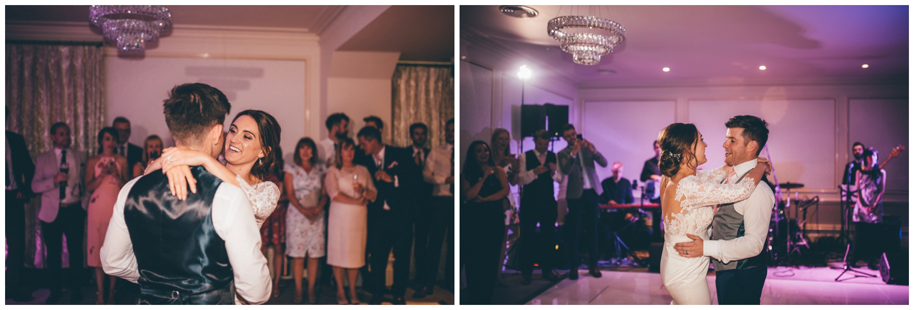 Bride and Groom do their First Dance at Tilstone House in Cheshire.