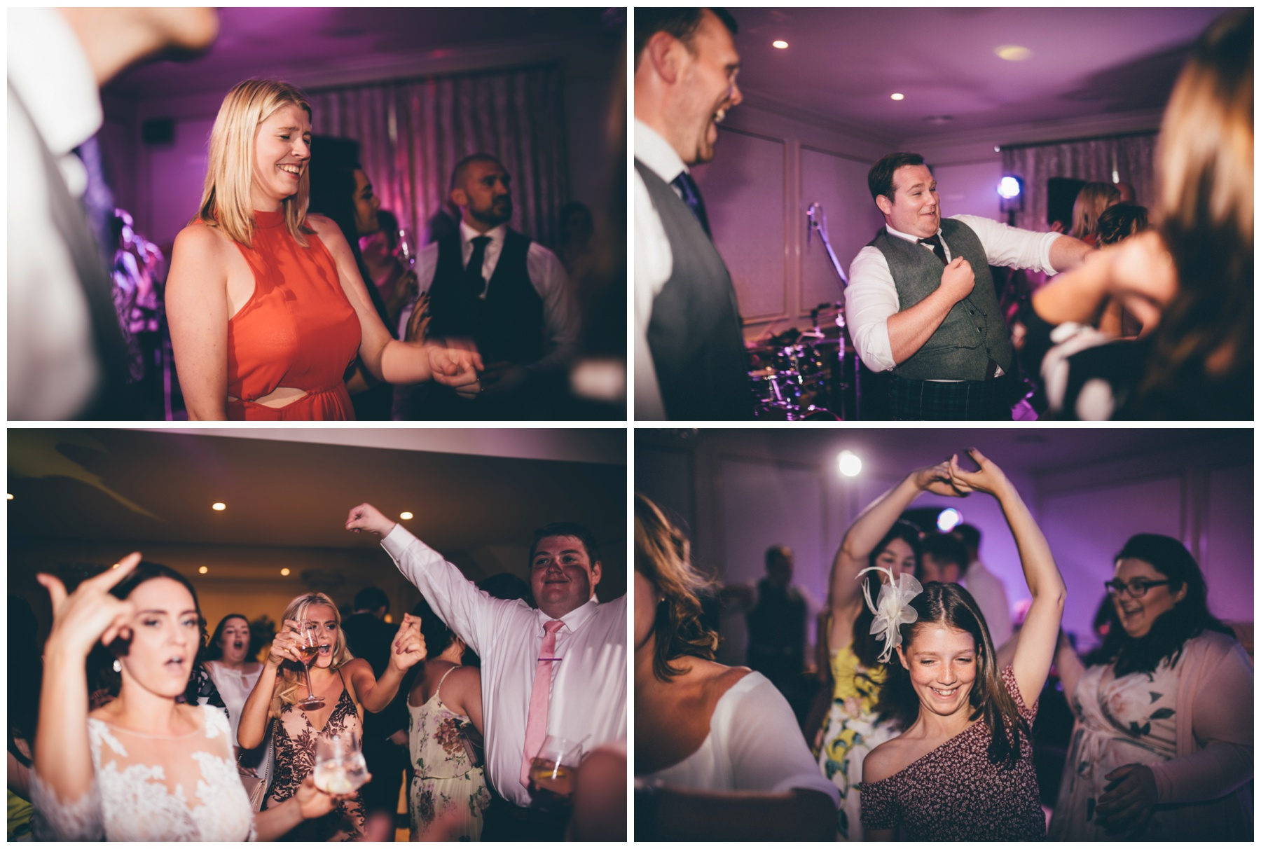 Wedding guests on the dance floor at Tilstone House in Tarporley, Cheshire.