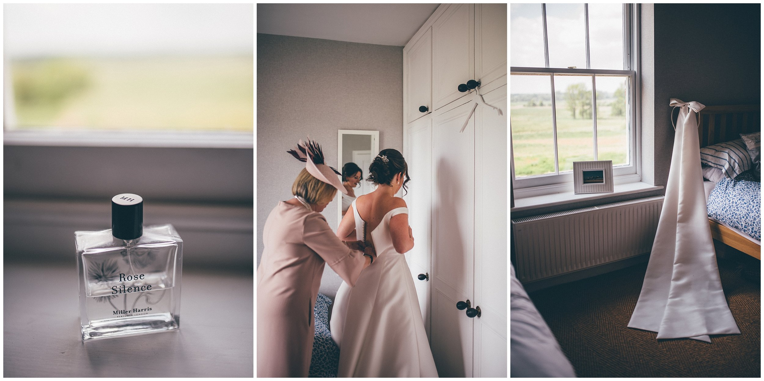Bride gets ready for her Southwold wedding with the help of her mum.