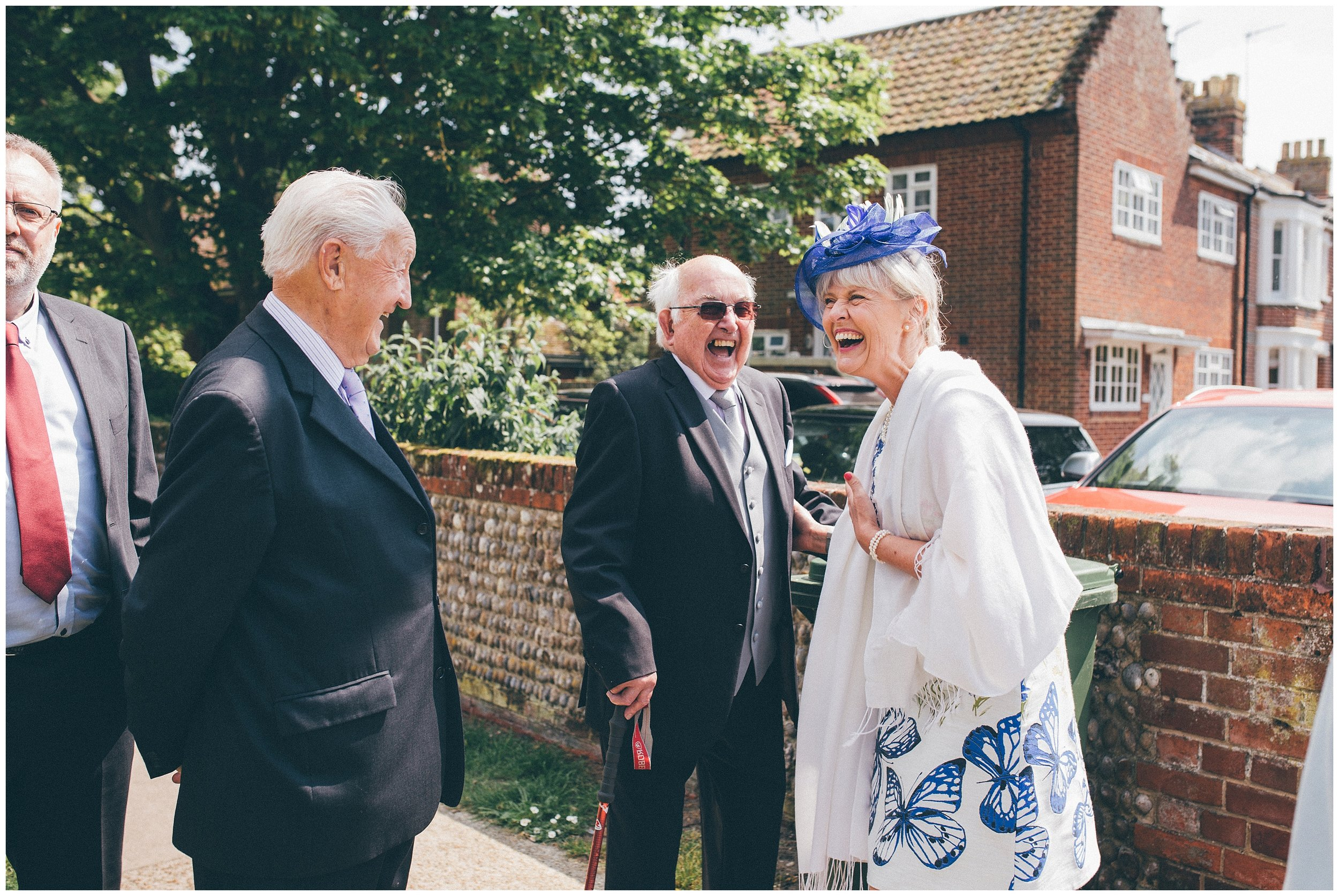 Guests at a Wedding at St Edmunds Church in Southwold.