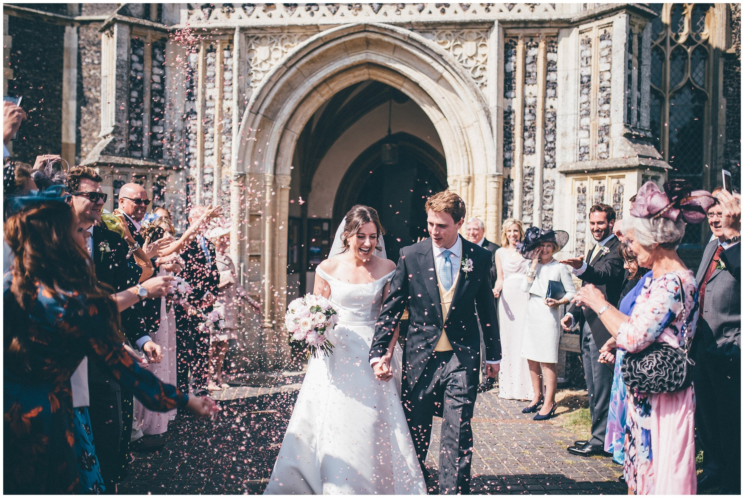 Confetti at a Wedding at St Edmunds Church in Southwold.