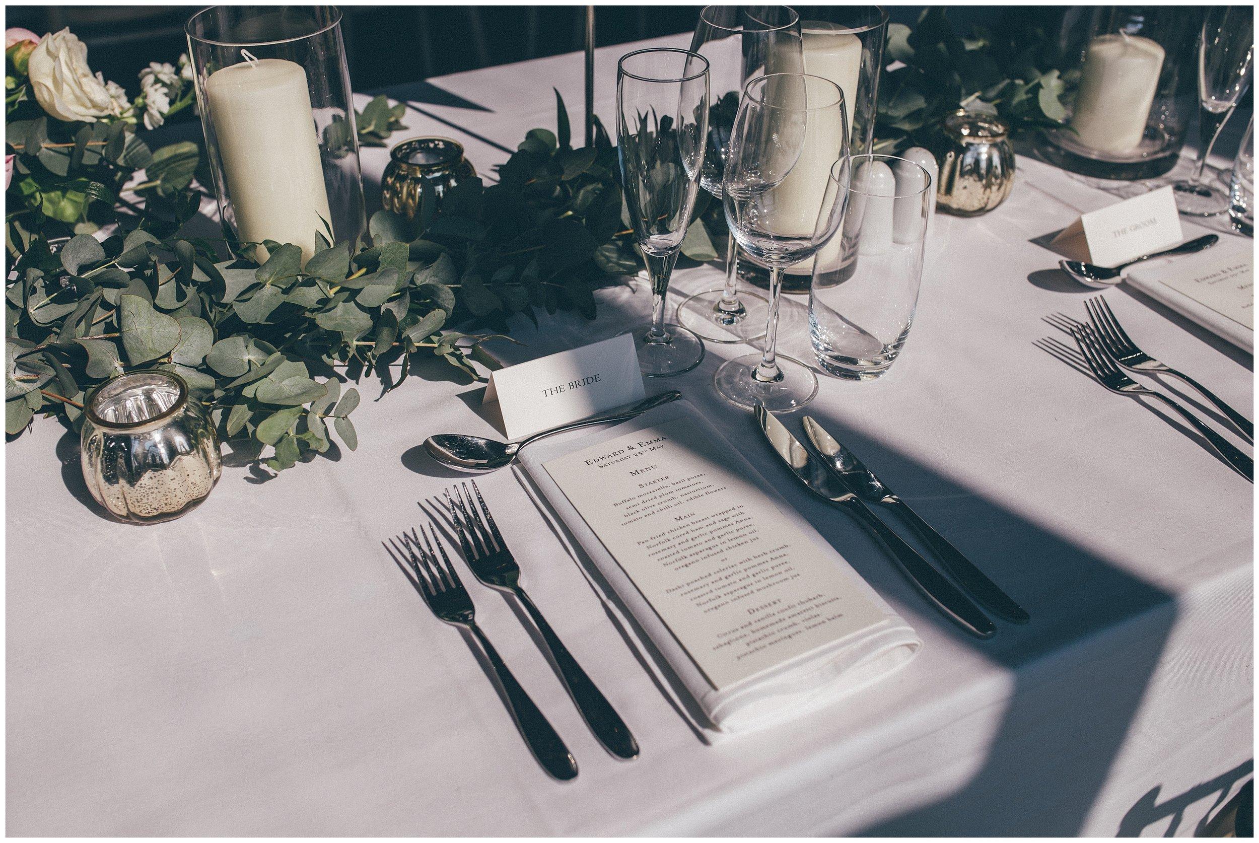 Bridal place setting at Stunning table details at Henham Park wedding barns.