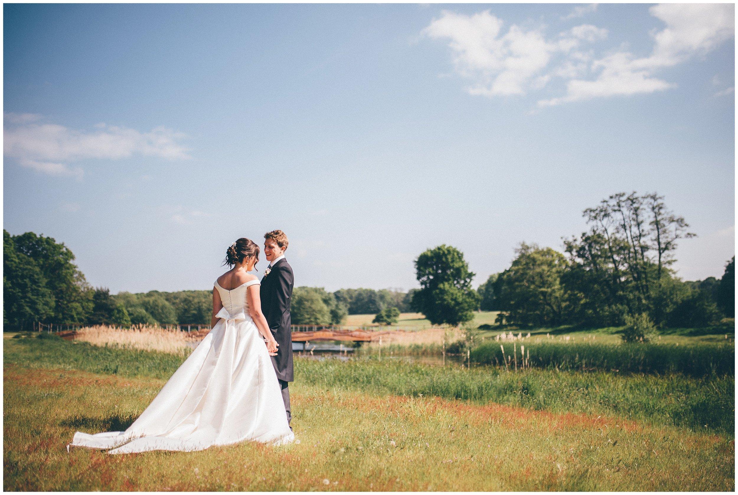 Bride and groom at Henham Park wedding barns.